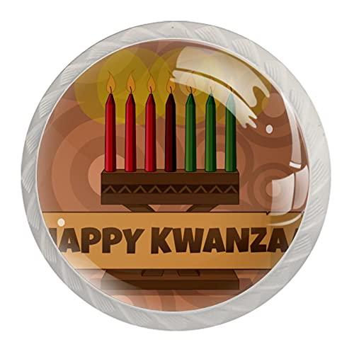 Manijas de gabinete de cristal vintage de Kwanzaa con aspecto blanco, 4 piezas de 35 mm para armarios de cocina, aparadores, armarios, armarios