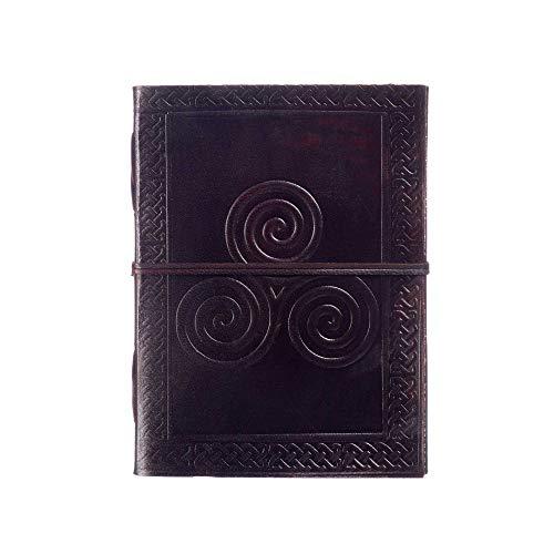 Tagebuch mit keltischem Triskel-Design, Leder, 13,5 cm x 18,5 cm, handgefertigt, Fair-Trade-Produkt, umweltfreundliche Leder-gebundene Notizbuch-Alternative für Damen und Herren