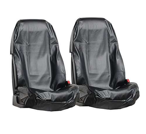 L&P Car Design GmbH A0077 2 Stück Auto Sitzschoner Werkstattschoner Sitzbezug aus robustem Kunstleder in Schwarz aus ECO Leder Schonbezug wasserdicht pflegeleicht robust langlebig PU in Schwarz