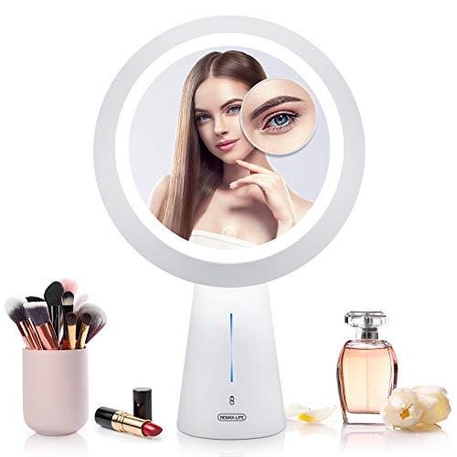 Mayepoo Schminkspiegel mit Licht, hochauflösender Kosmetikspiegel mit 5-facher Vergrößerungsspiegel, Tischlampe Mode, 3 Lichtmodi, wiederaufladbarer USB-Make Up Spiegel, das beste Geschenk für Frauen