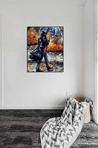 DIY Malen nach Zahlen Paar Regenschirm Stil Mit Pinsel und Acrylfarbe Erwachsenenfarbe nach Zahlen Digitale Kunst Geeignet für die Wohnzimmerdekoration für Kinder, Studen40x50cm(Kein Rahmen)