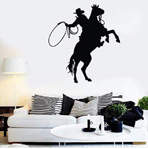 Wandaufkleber Wandaufkleber Vinyl Applique Cowboy Zaun Ritter Silhouette, Denim Home Wohnzimmer Dekoration Wandaufkleber 57 * 63Com