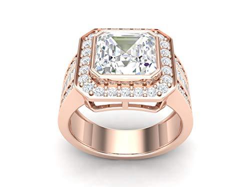 Bague en argent plaqué or rose Bague en diamant zircon cubique taillée au diamant, bague double halo, demi-bague infinie (60)