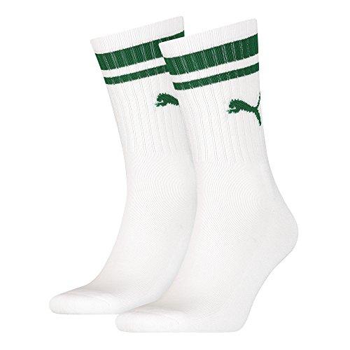 Puma Herren Heritage Stripe Crew Socken–Weiß/Grün, Größe UK 9–11