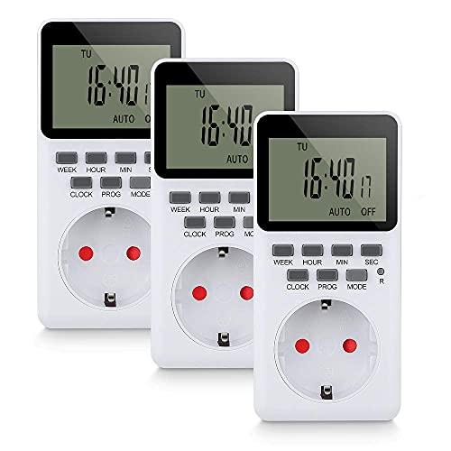 Toma de temporizador DyniLao, temporizador con 20 programas semanales configurables, temporizador programable enchufable, pantalla LCD HD (3 piezas)