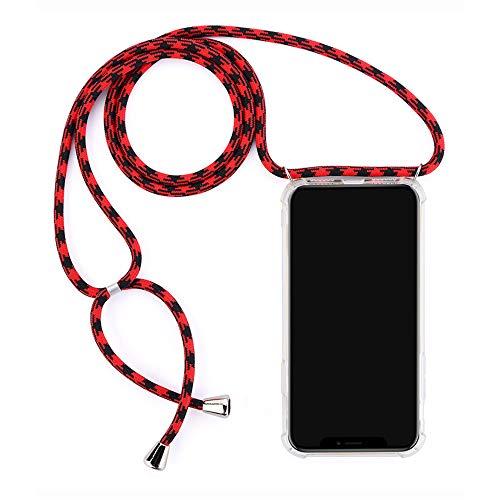 Ququcheng Kompatibel mit Xiaomi Redmi 6A Hülle,Klar Silikon Handykette Hülle Necklace Handyhülle mit Kordel Tasche TPU Bumper Schutzhülle für Xiaomi Redmi 6A-Rot/Schwarz
