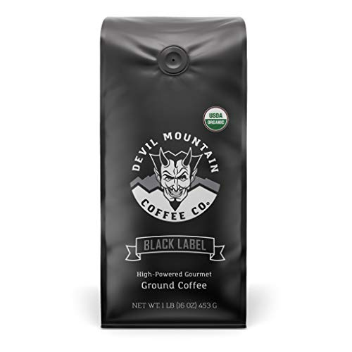 'Black Label' Dark Roast Ground Coffee, Strongest Coffee in the world With Highest Caffeine, Lab Tested, USDA Certified Organic (16 oz.)