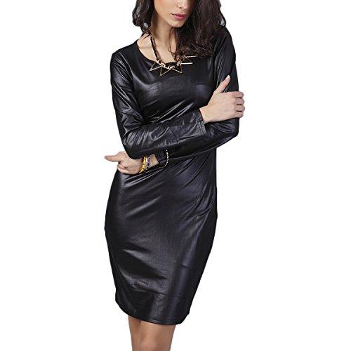 Fanmay - Vestido de Verano para Mujer, Elegante, de Manga Larga, Cuello Redondo, de un Solo Color, Vestido Medio, Vestido de Fiesta, Blusa Negro M