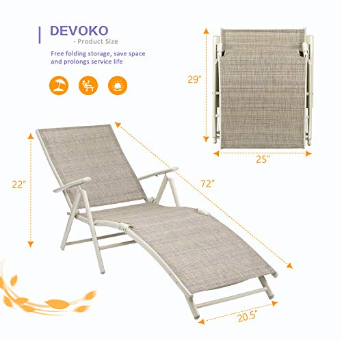 Devoko Patio Outdoor Chaise Lounge Chairs Beach Pool Side Folding Recliner Adjustable Lounge Chair Set of 2 (Beige)