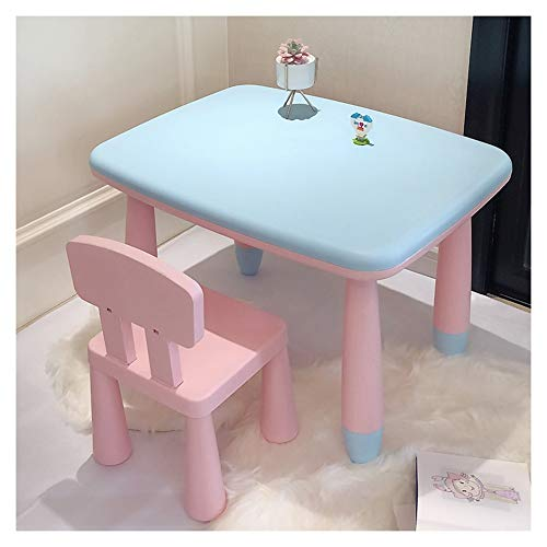 CHAXIA Chaise De Table Enfant Ensemble Ensemble Table Et Chaises for Enfants Apprentissage Tableau De Peinture Facile À Nettoyer Coin Arrondi Chaise Rose, 2 Couleurs (Color : E)