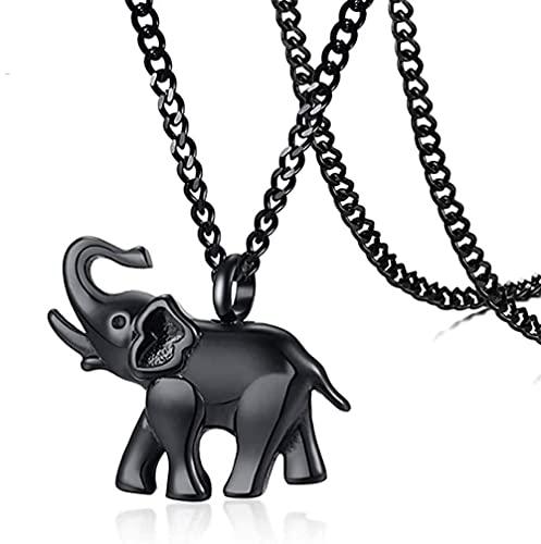 Collar con colgante de cremación de elefante negro de acero inoxidable, collar de urna de ceniza abierta de animal, regalo de joyería con embudo y pin