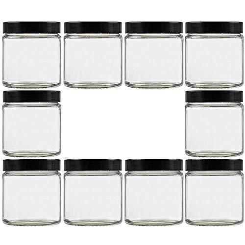 Viva Haushaltswaren - 10 x Glastiegel 60 ml,Klarglas Mit schwarzem deckel aus Kunstoff,10 Etiketten