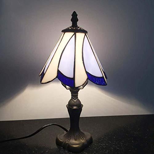 Bear & MH tafellamp in Tiffany-stijl, mediterrane lamp met bloemblaadjes, wit en paars, met basis van kunsthars en glasplaat, salontafel woonkamer tafel kantoor bedlampje E27