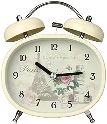 Vintage Double Twin Bell 3.5'Silencioso Vintage Egg Style Reloj Despertador, Metal Inoxidable, Función de luz Nocturna, Patrón de Dibujos Animados/Flores, Alarma Sonora