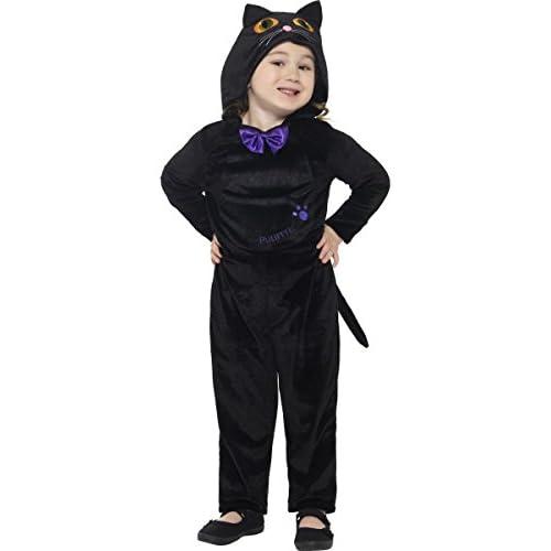 Smiffys Costume da gatto per neonato, Nero, Tuta con cappuccio e occhi stampati in 3D