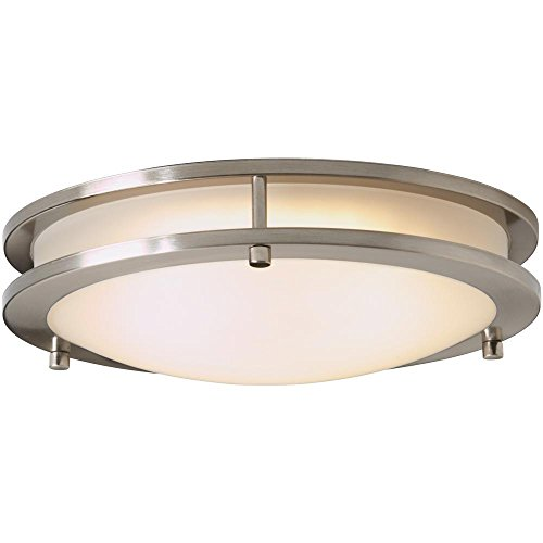 Hampton Bay HB1023-35 Brushed Nickel LED Low-Profile Flush Mount with Frosted White Shade