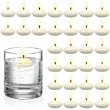 30 Pieces Unscented Floating Candles for Centerpieces Floating Warm Tealights Candles Floating Candles for Wedding Party Pool SPA Valentine's Day Bathtub Dinner Christmas Party Decoration (White)