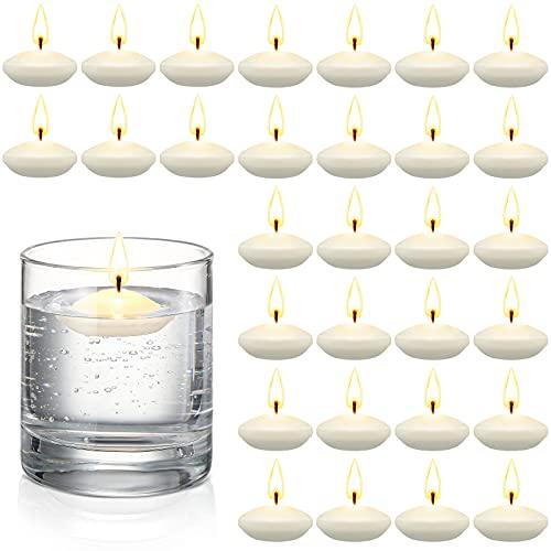 30 Stücke Duftlose Schwimmkerzen für Mittelstücke Schwimmende Warme Teelichter Kerzen Schwimmkerzen für Hochzeit Pool SPA Valentinstag Badewanne Abendessen Weihnachten Party (Weiß)