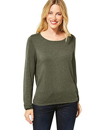 Street One Damen 301257 Feinstrickpullover Pullover, Shady Olive Melange, 44