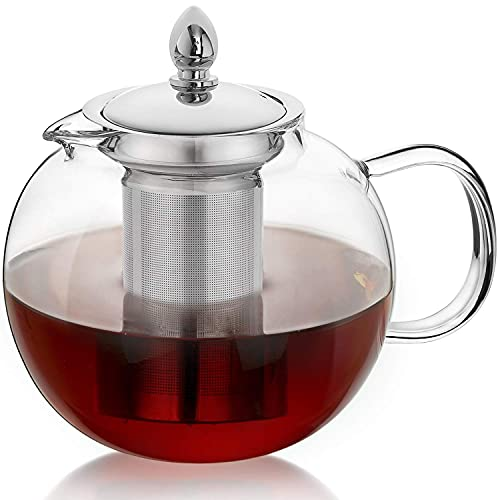 WANGPING 1000ml Glass Teapot with Removable Infuser, Stovetop Safe Tea Kettle, Blooming and Loose Leaf Tea Maker Set (1400ml)