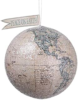 Blue Peace On Earth Globe Academic Map Planet Earth Geography Christmas Ornament