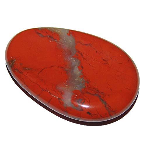 1 Stück Jaspis rot Daumen Schlaf Stein flacher XL Handschmeichler mit Mulde Größe ca. 30 x 50 x 10 mm.(2489)