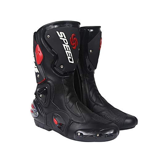 Wensa Motorrad-Stiefel, Soft Biker, Speed Motocross Stiefel Anti-Rutsch-Motorrad-Schuhe, Motorrad wasserdichte Stiefel,Schwarz,44