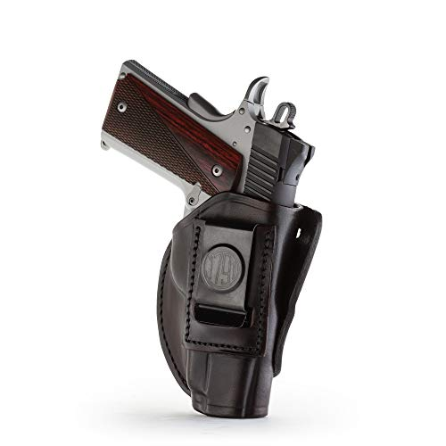 1791 GunLeather 4-WAY 1911 Holster - OWB and IWB CCW Holster - Right Handed Leather Gun Holster - Fits all 3 and 4 inch 1911 models SIG, COLT, Kimber, Ruger, Browning, Taurus (SIZE 1)