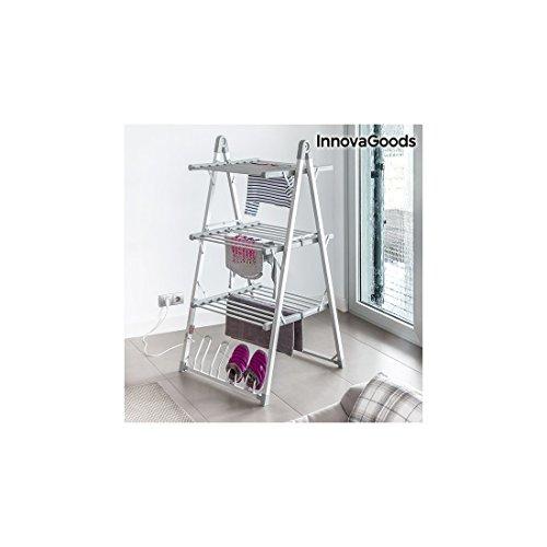 InnovaGoods Stendibiancheria Elettrico Pieghevole in Alluminio e ABS, Grigio, 66 x 73 x 135 cm, plastica