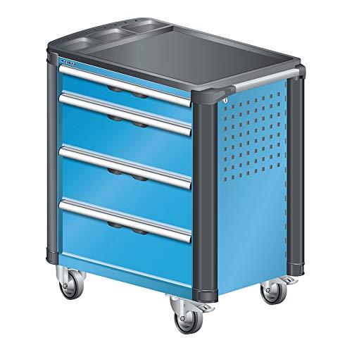 LISTA Art.Nr. 81.072.010 Werkstattwagen mit Kunststoffabdeckung und Kantenschutz 36x27E (BxTxH) 894x525x928mm 4 Schubladen Lichtblau RAL 5012