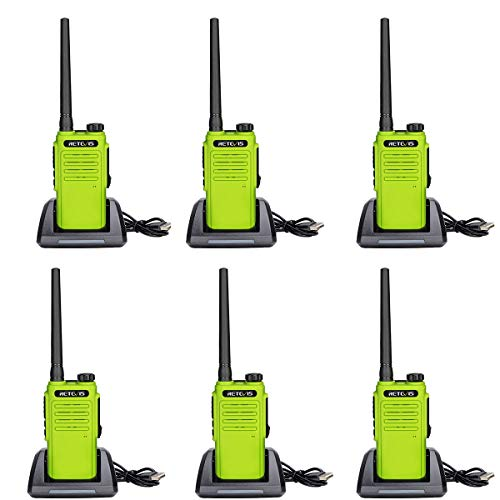 Retevis RT47 Walkie Talkies Waterproof IP67,Portable Long Range 2 Way Radio for Adults,VOX Channel Lock Vox Handsfree Outdoor Two Way Radio(Green, 6 Pack)