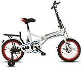 Bicicletas Bicicletas para niños, bicicleta plegable para niños 12 pulgadas ultraligero portátil hombres y mujeres estudiantes scooter al aire libre Equitación deportiva (color: blanco-a, Tamaño: 12in