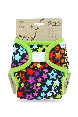 Petit Lulu AI2 Doek Nappy One Size (9-33 lbs) | SIO Compleet | Haak & Lus | Herbruikbaar & Wasbaar | Alle in twee doeken luiers | Made in Europe Rainbow Stars