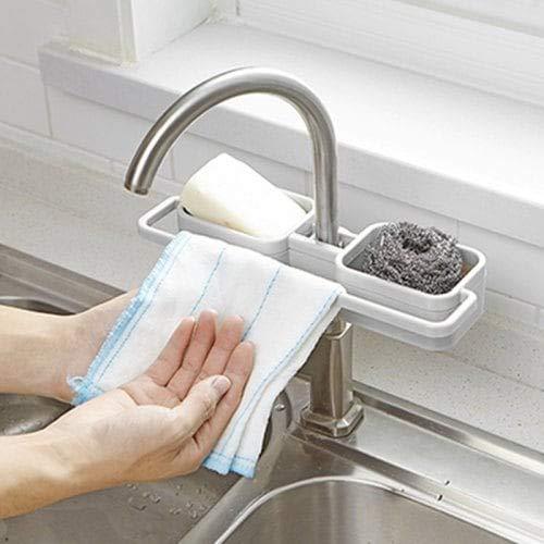 Sevenshop Aufsteckbares, Verstellbares Waschbecken-Lagerregal - Grau 1St