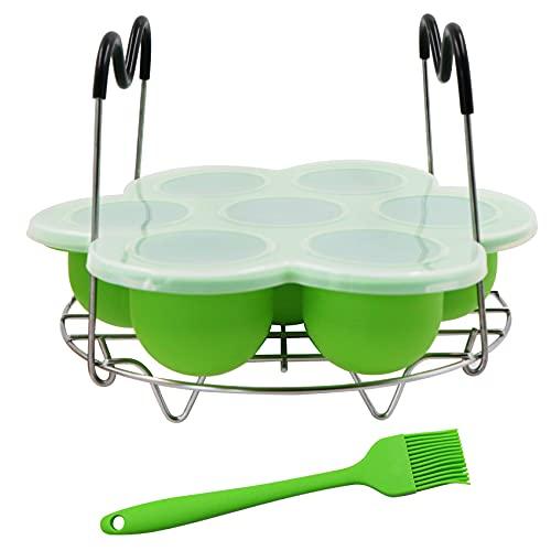 N-D Supporto per cottura a vapore con 7 fori – Dotato di 1 spazzola per olio, scatola integratore alimentare in silicone verde, utensili da forno per la casa pieghevole
