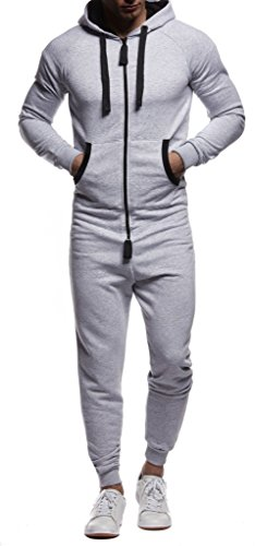 Leif Nelson Herren Jumpsuit in grau-schwarz - 2