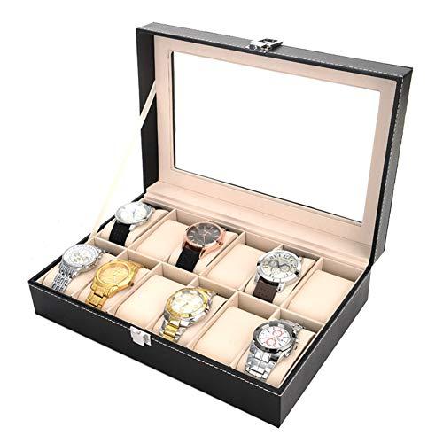 Caja de Relojes Estuche para Relojes de Cuero PU Caja Forro de Terciopelo, Tapa de Vidrio, Guardar Elegante Relojes Caja para 12 Relojes, Estuche para Relojes para dejar los relojes bien ordenados