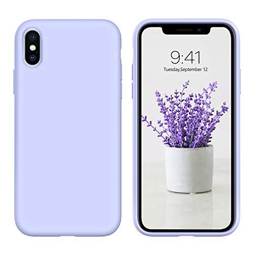 DUEDUE Coque iPhone X Silicone iPhone XS Fine Liquide Douce Rigide Antichoc Micrifibre Protection Téléphone iPhone X/XS 5.8'