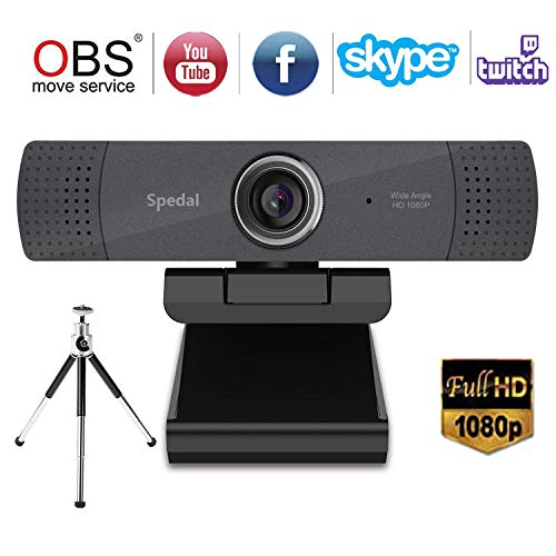 Spedal HD 1080P Webcam mit Stativ, Streaming Kamera mit Mikrofon, Weitwinkel 90 Grad Webcam für PC, Laptop oder Desktop, USB-Kamera für Facebook Skype OBS XSplit, kompatibel für Mac OS Windows 10/8/7