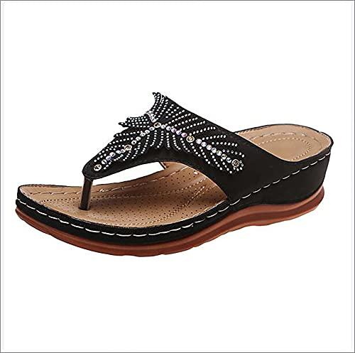 XWCG Sandalias de Plataforma para Mujer Sandalias de Cuña Zapatos de Verano con Sandalias Punta Abierta Comodas Zapato Vintage Sandal Sandal,Negro,39