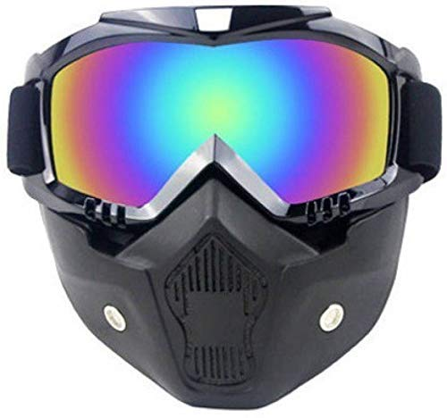 SPARENUTS Mask Goggles Men/Women Retro Outdoor Cycling Mask Goggles Snow Sports Skiing Full Face Mask Glasses Vertical Black Frame Colorful Lens (White)