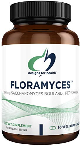 Designs for Health Saccharomyces Boulardii Probiotic - FloraMyces 500mg, Shelf-Stable Digestive Probiotics - Dairy-Free Supplement to Support Digestion + Gut Health (60 Capsules)