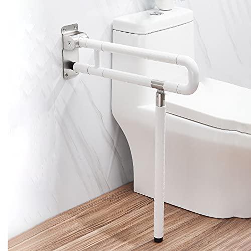 Barra de asidero para Inodoro con Marco de Seguridad,Plegable,con Patas montadas en la Pared,para Ayudar a discapacitados,Antideslizante,para Mujeres Embarazadas Ancianos discapacitados