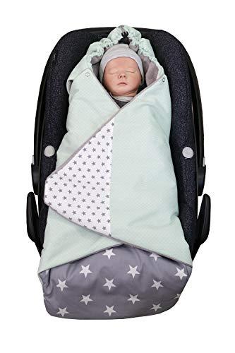 ULLENBOOM ® Einschlagdecke Babyschale Mint Grau (Made in EU) - Babydecke für Autositz (z.B. Maxi Cosi ®), Babywanne oder Kinderwagen, ideale Decke für Babys (0 bis 9 Monate)