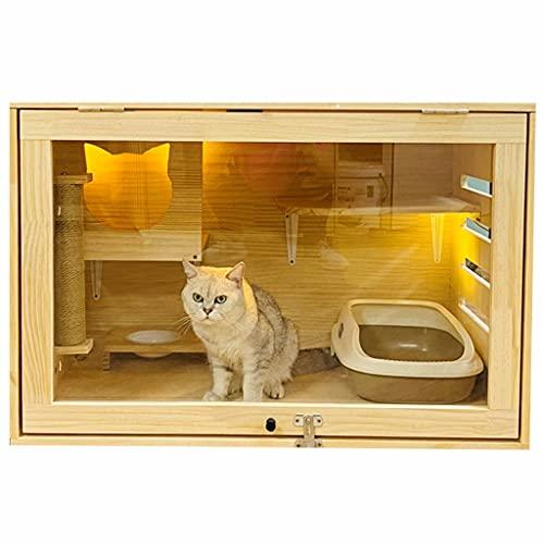 QINGTAOSHOP Vitrina Grande para Gatos Jaula De Lujo De Madera Maciza para Gatos Domésticos Cama para Gatos Arena para Gatos Casa para Gatos Jaula De Cría De Gatos Gato Jaula para Mascotas