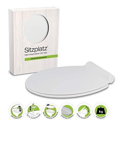 SITZPLATZ® WC-Sitz mit Absenkautomatik Loft, flach, Weiß, antibakterieller Duroplast Toilettensitz, abnehmbar, Edelstahl-Scharniere, Top-Fix Befestigung von oben, Standard O-Form universal, 40133 3