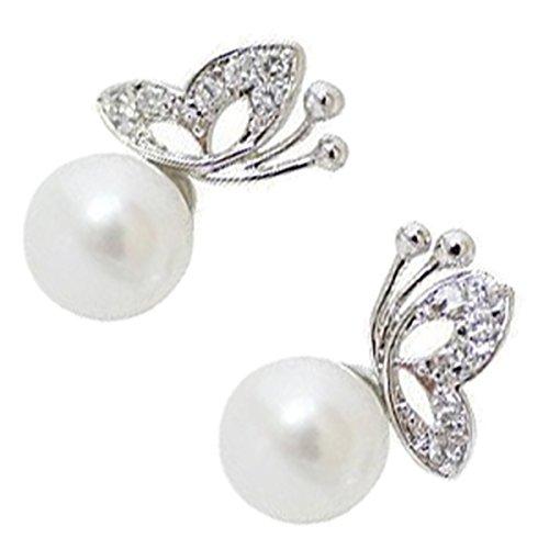 GWG Jewellery Pendientes Mujer Regalo Pendientes, Chapados en Oro Blanco 18K con Perla Blanca y...