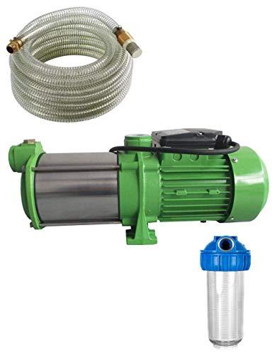 Set van voorfilter 4000 l, zuigslang 7 m messing + centrifugaalpomp tuinpomp INOX HMC145 INOX - Vermogen: 1100 W - spanning: 230 V/50 Hz 9000 l/h - 150 l/min. 5 bar. Wieltjes van roestvrij staal - roestvrij stalen as.