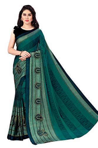 Sourbh Damen Sari mit Blusenteil - Gr�n - Einheitsgröße