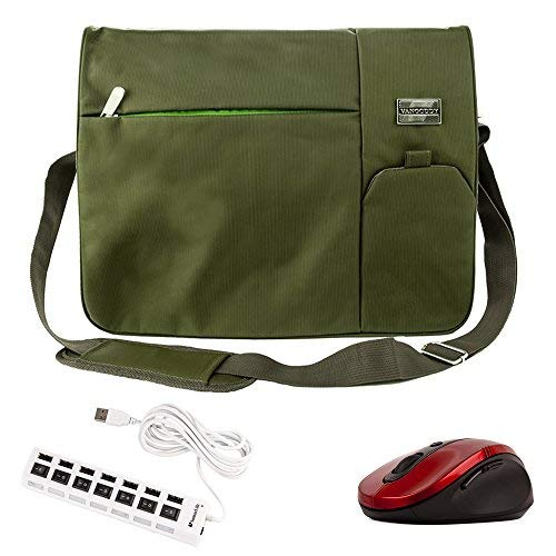Travel Laptop Carrying Shoulder Bag Green for Lenovo Ideapad ThinkPad X Yoga B50 Edge G50 LaVie U31 U530 Flex G Y40 Y50 3 14 Z41 Z51 (12.5 15.6 inch) and Wireless Mouse and USB 2.0 HUB 6 foot Cable